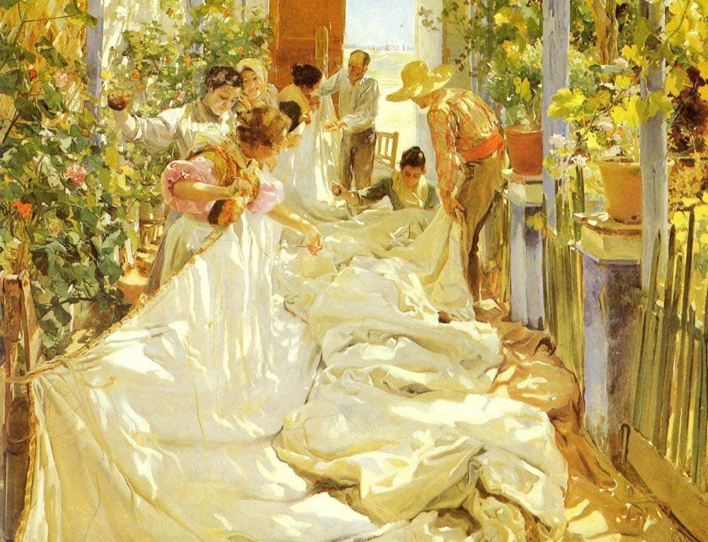 Cosiendo La Vela | Joaquin Y Bastida Sorolla | oil painting