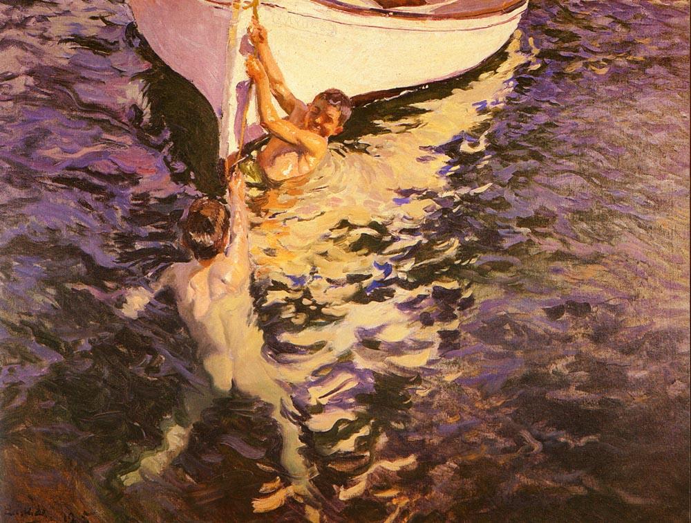 El Bote Blanco | Joaquin Y Bastida Sorolla | oil painting