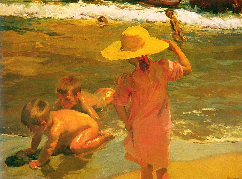 Ninos A La Orilla Del Mar | Joaquin Y Bastida Sorolla | oil painting
