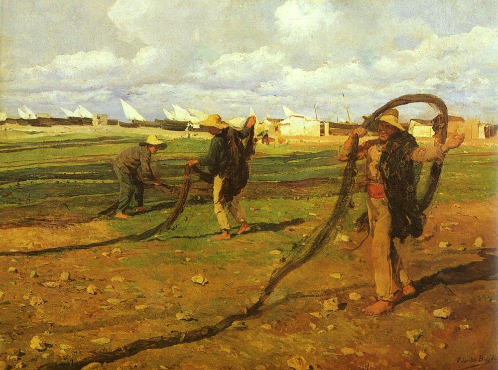 Pescadores Recgiendo Las Redes | Joaquin Y Bastida Sorolla | oil painting