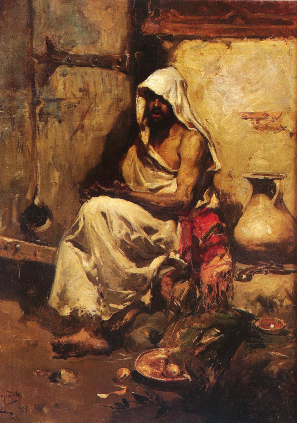 Un Arabe Examinando Una Pistola   Joaquin Y Bastida Sorolla   oil painting
