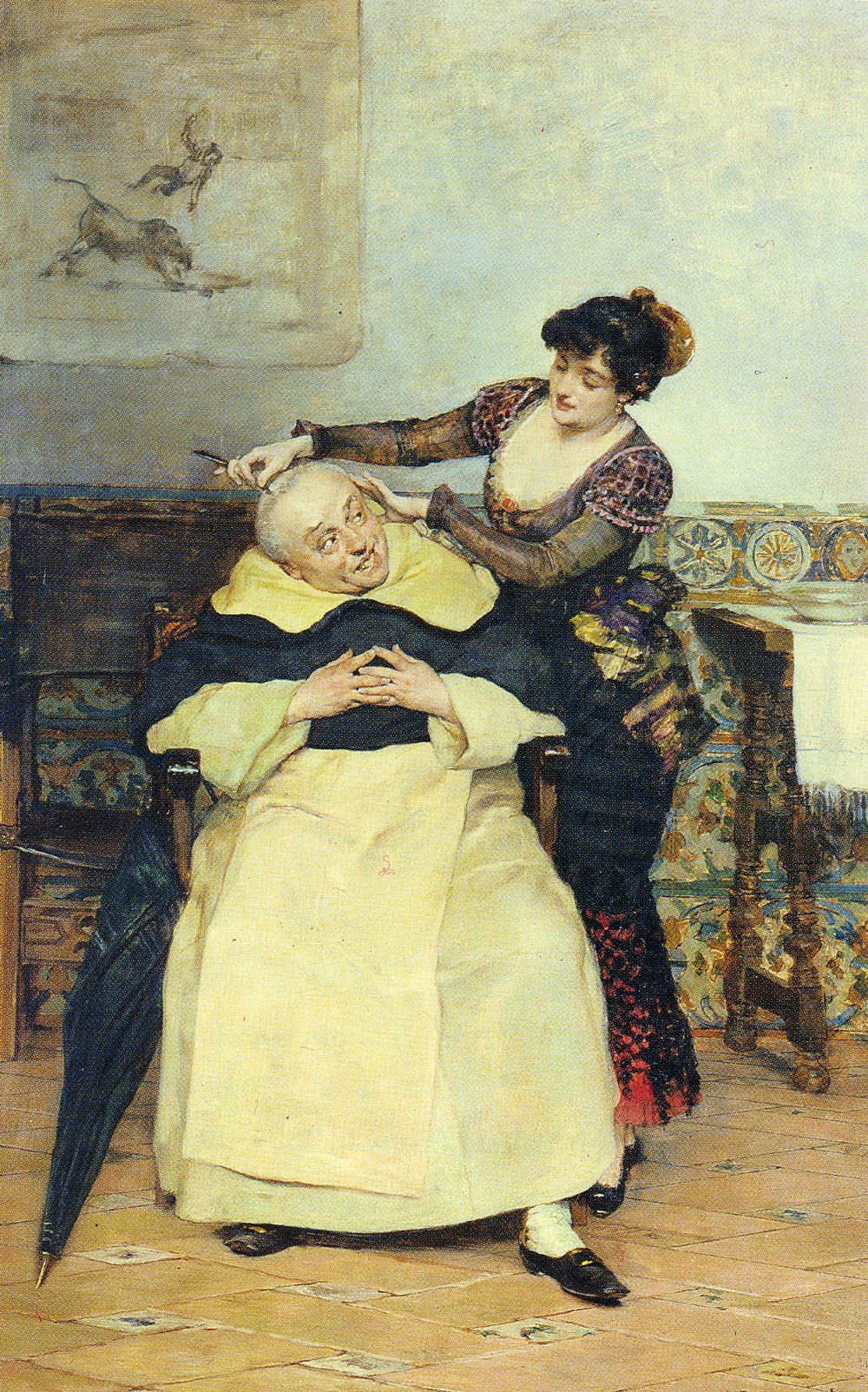 The Haircut | Y Gonzalez Vicente Palmaroli | oil painting