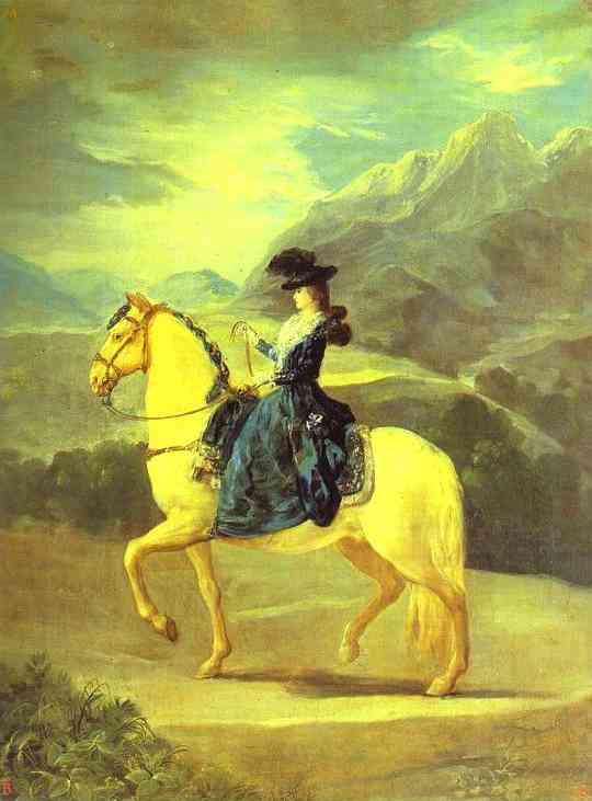 Equestrian Portrait of Dona Maria Yeresa de Vallabriga 1783   Francisco De Goya   oil painting