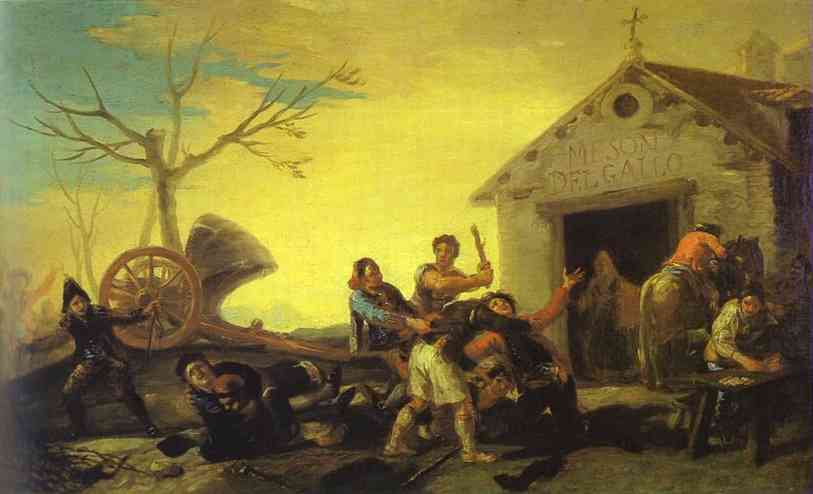 Fight At The Cock Inn 1777   Francisco De Goya   oil painting