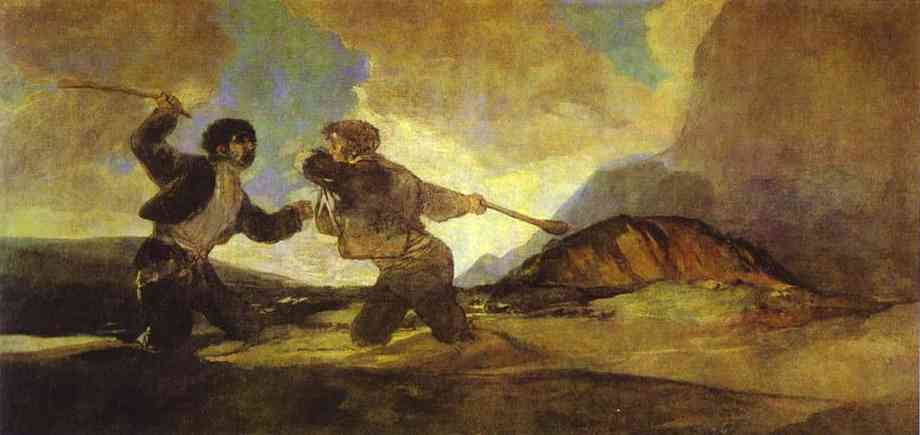 Fight With Clubs 1820-1823 | Francisco De Goya | oil painting