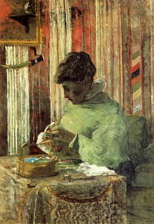 Woman Embroidering 1880 | Paul Gauguin | oil painting