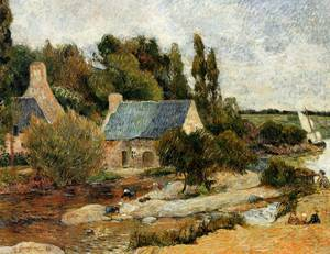 Washerwoman at Simonou Mill Pont Aven 1886 | Paul Gauguin | oil painting