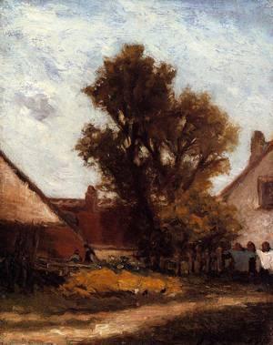 The Tree in the Farm Yard 1874   Paul Gauguin   oil painting