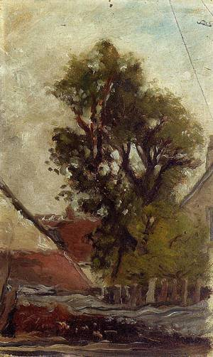 The Tree in the Farm Yard (sketch) 1874   Paul Gauguin   oil painting