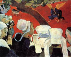 The Vision after the Sermon (aka Jacob Wrestling the Angel) 1888   Paul Gauguin   oil painting
