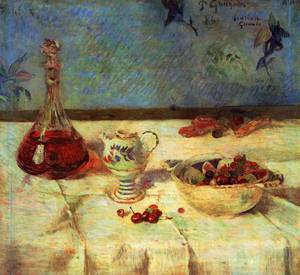 The White Tablecloth (aka Still Life with Cherries) 1886   Paul Gauguin   oil painting
