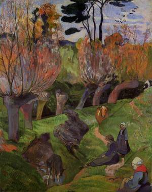 The Willows 1889   Paul Gauguin   oil painting