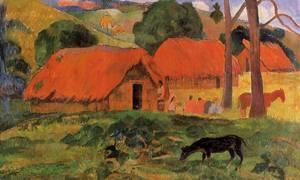 Three Huts Tahiti 1891 1892   Paul Gauguin   oil painting