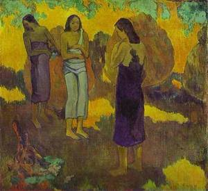 Three Tahatian Women against a Yellow Background 1899   Paul Gauguin   oil painting