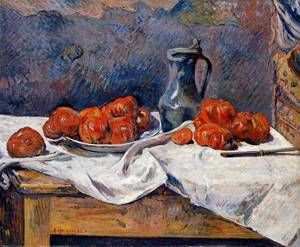 Tomatoes and a Pewter Tankard on a Table 1883 | Paul Gauguin | oil painting