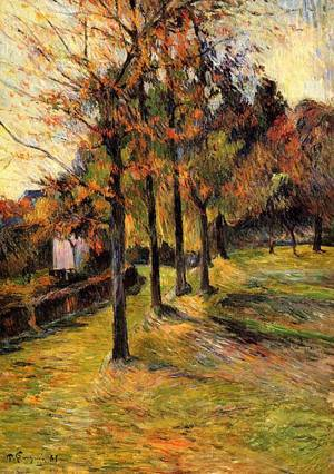 Tree Lined Road Rouen 1885 | Paul Gauguin | oil painting