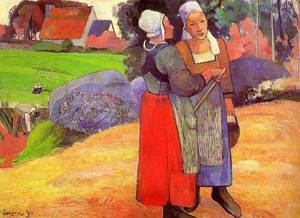 Two Breton Peasants on the Road 1894 | Paul Gauguin | oil painting