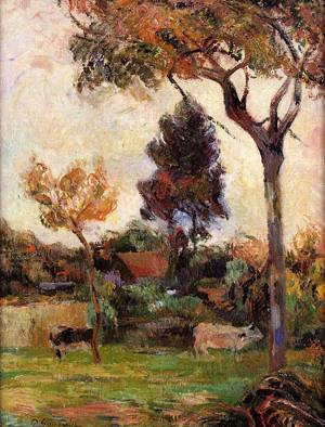 Two Cows in the Meadow 1884 | Paul Gauguin | oil painting