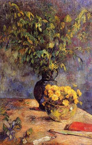 Two Vases of Flowers and a Fan 1885 | Paul Gauguin | oil painting