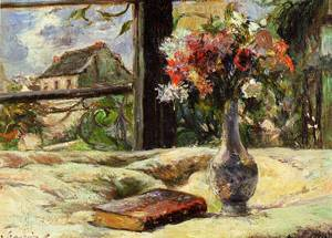 Vase of Flowers and Window 1881 | Paul Gauguin | oil painting