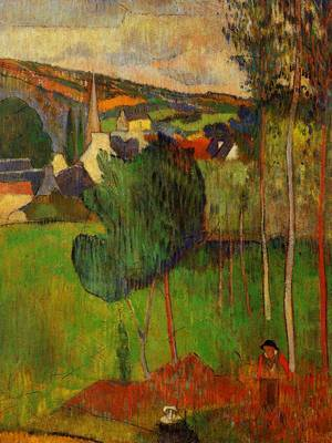 View of Pont Aven from Lezaven 1888 | Paul Gauguin | oil painting