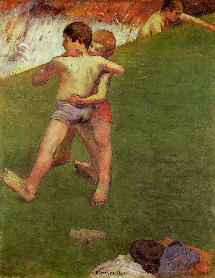 Breton Boys Wrestling 1888 | Paul Gauguin | oil painting