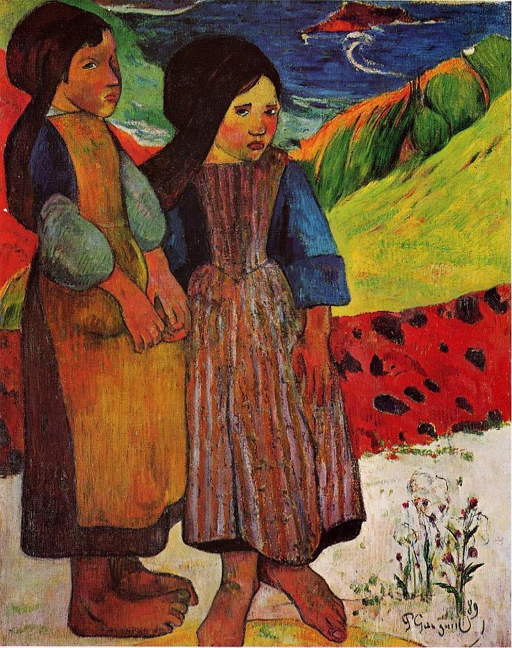 Breton Girls by the Sea 1889 | Paul Gauguin | oil painting