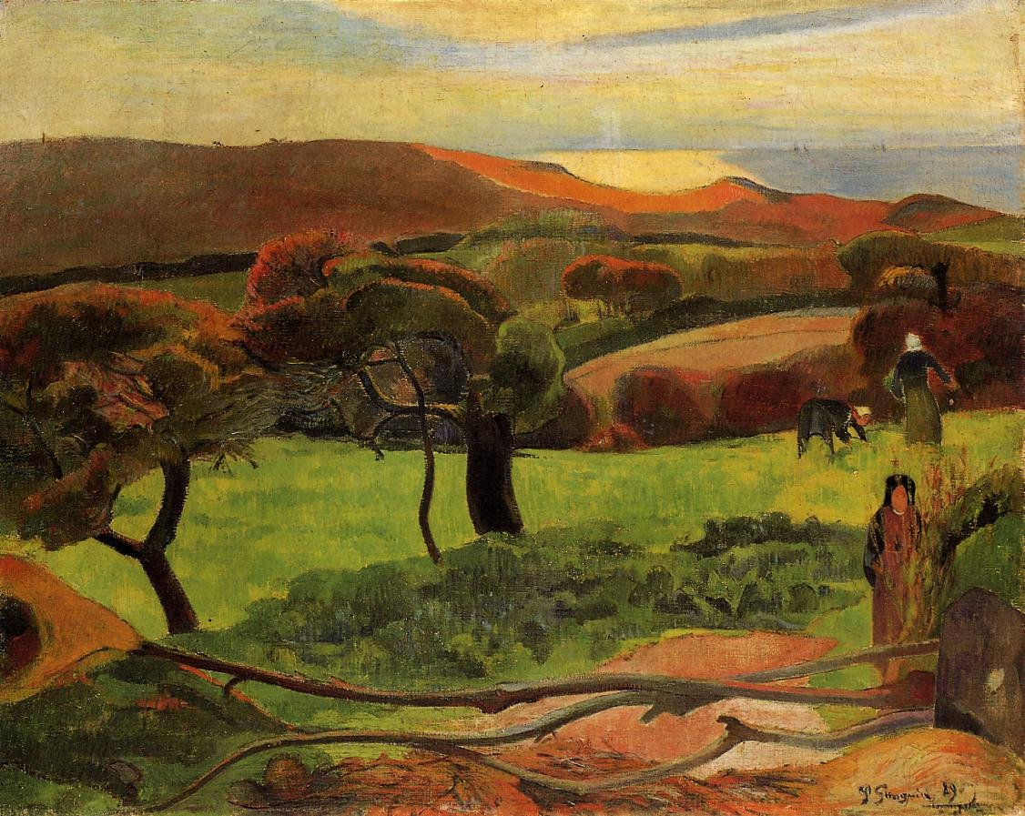 Breton Landscape Fields by the Sea (aka Le Pouldu) 1889 | Paul Gauguin | oil painting