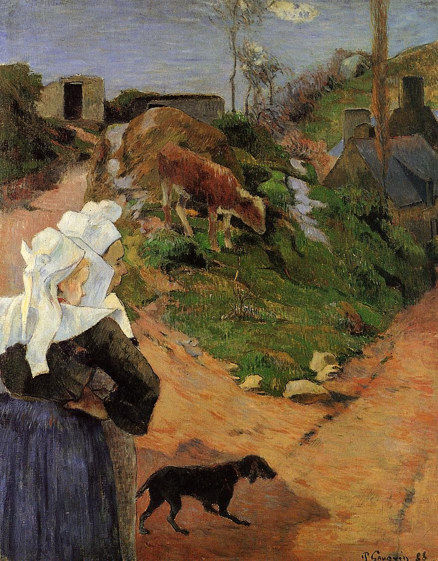 Breton Women at the Turn 1888 | Paul Gauguin | oil painting