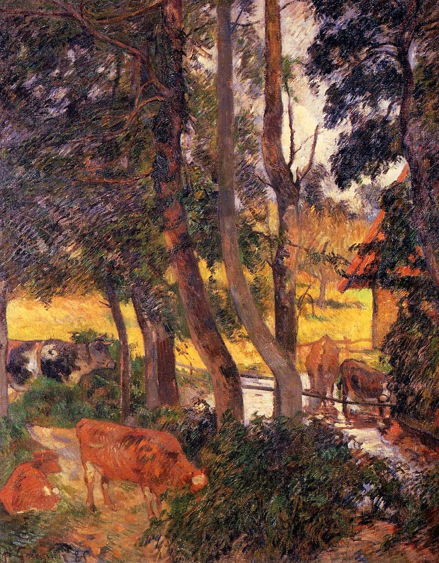 Cattle Drinking (aka Edge of the Pond) 1885 | Paul Gauguin | oil painting
