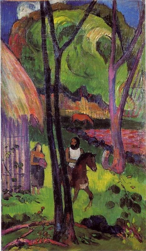 Cavalier devant la case 1902 | Paul Gauguin | oil painting