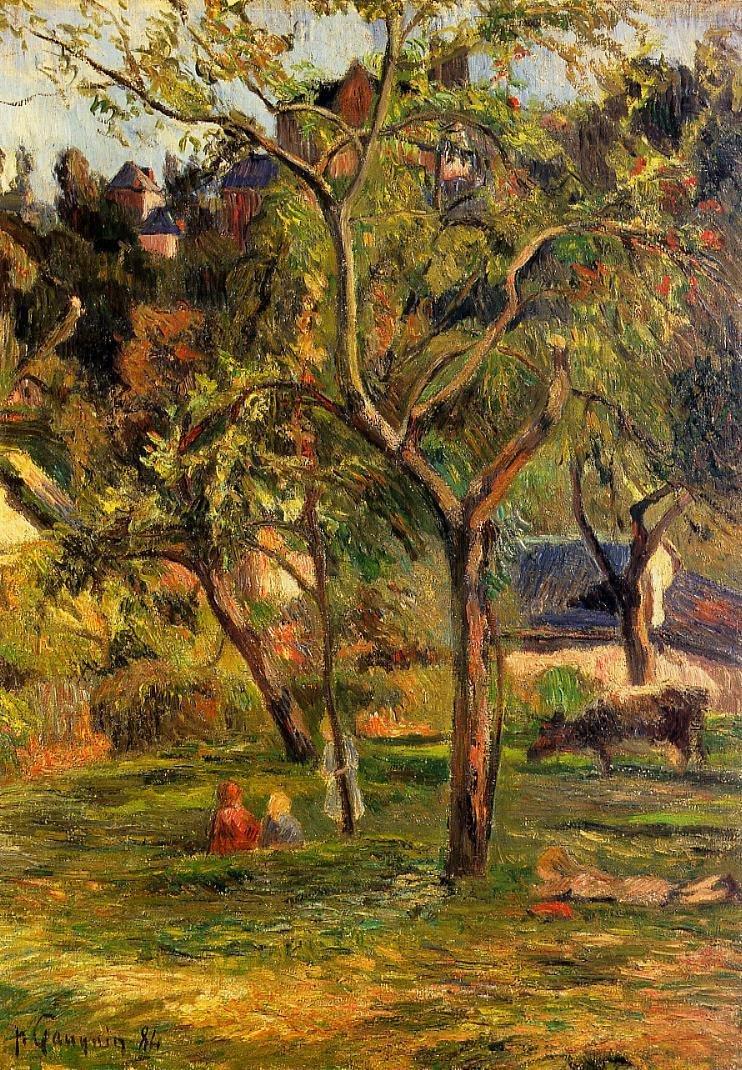 Children in the Pasture (aka Orchard below Bihorel Church) 1884 | Paul Gauguin | oil painting