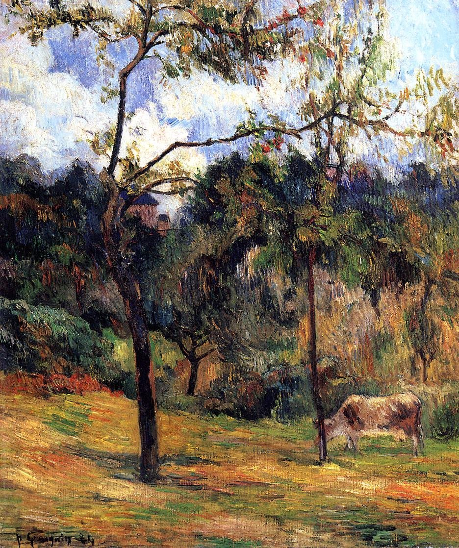 Cow in a Meadow Rouen 1884 | Paul Gauguin | oil painting