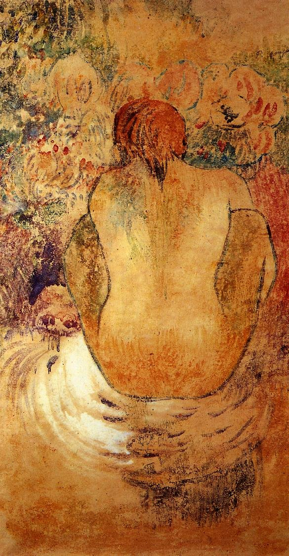 Crouching Marquesan Woman See from the Back 1902 | Paul Gauguin | oil painting