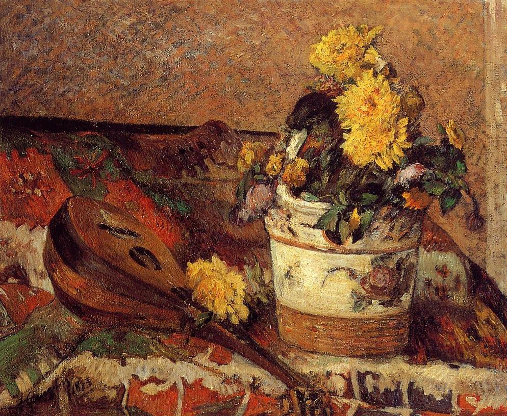 Dahlias and Mandolin 1883 | Paul Gauguin | oil painting
