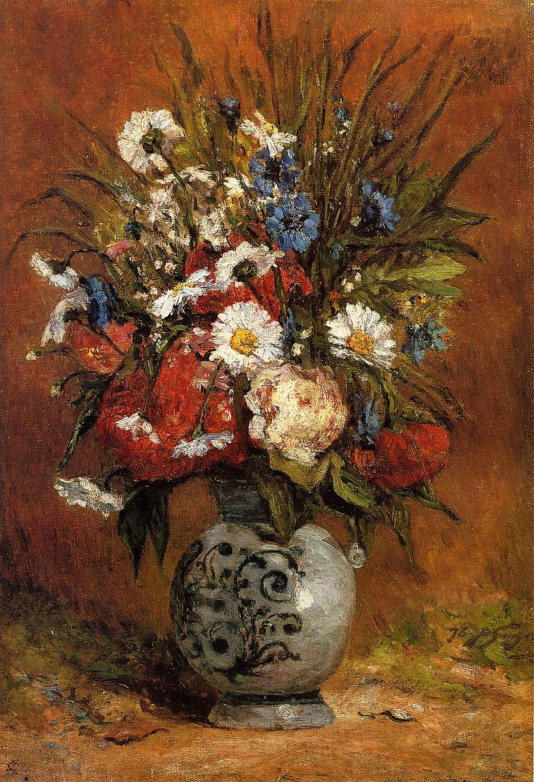Daisies and Peonies in a Blue Vase 1876 | Paul Gauguin | oil painting
