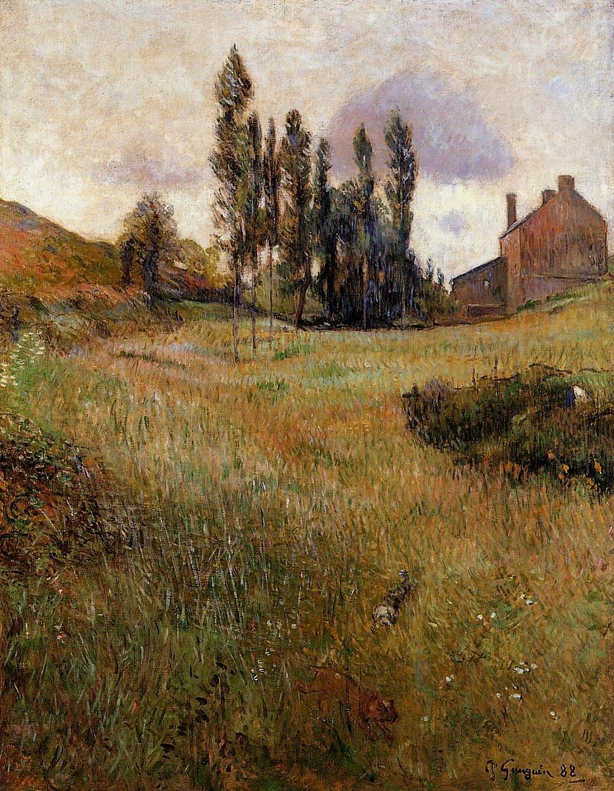 Dogs Running through a Field 1888 | Paul Gauguin | oil painting