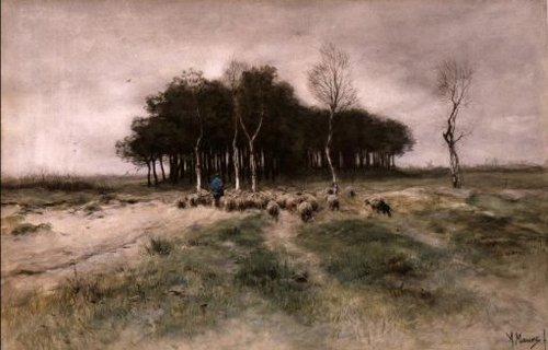 Schapen op de heide bij Laren 1887 | Anton Mauve | oil painting