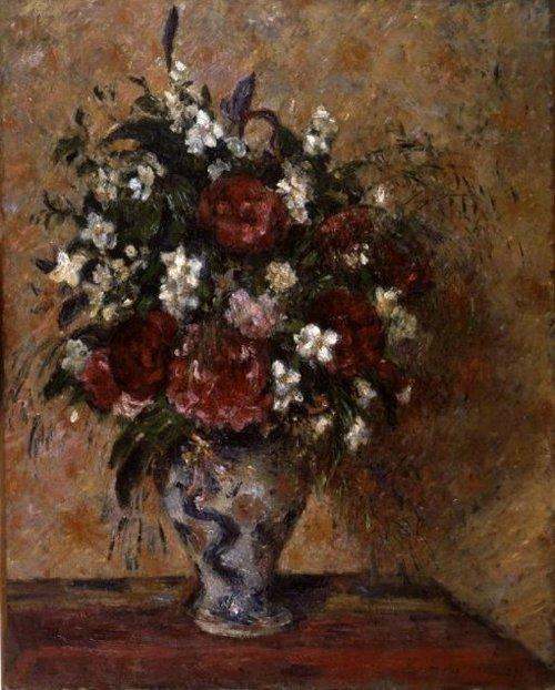Stilleven met pioenen en boerenjasmijn 1877 | Camille Pissarro | oil painting