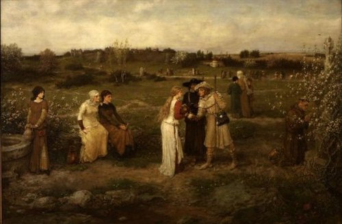 Godspeed Pilgrims setting out for Canterbury 1874 | George Henry Boughton | oil painting