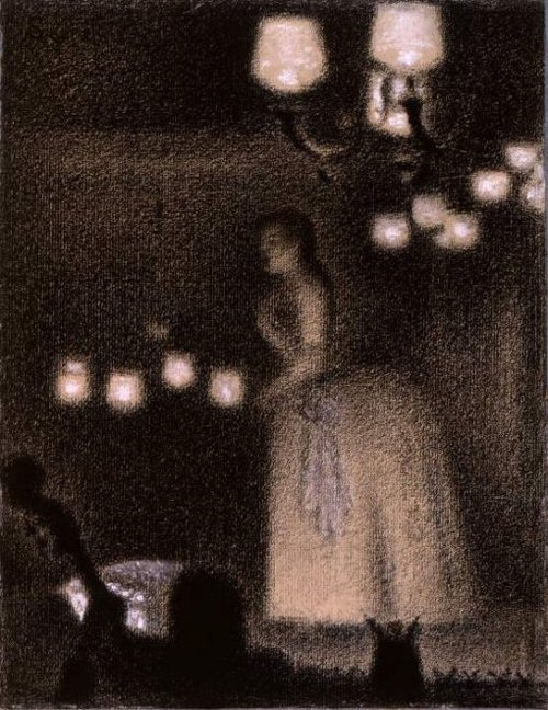Zingende vrouw in een cafe 1887 | Georges Seurat | oil painting