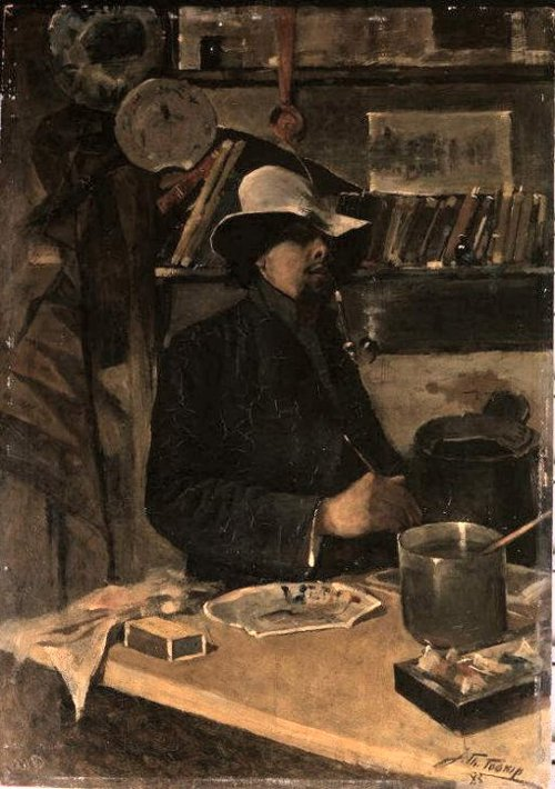 Zelfportret in het atelier 1883 | Jan Toorop | oil painting