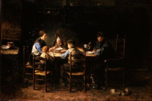A Peasant Family at the Table 1882 | Jozef Israels | oil painting