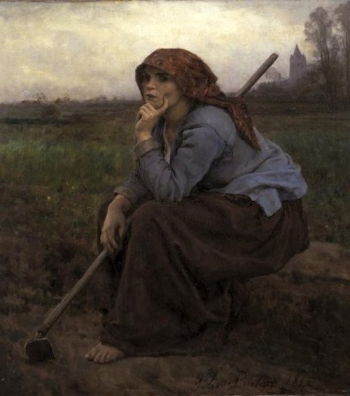 Young Peasant Girl with a Hoe 1882 | Jules Breton | oil painting