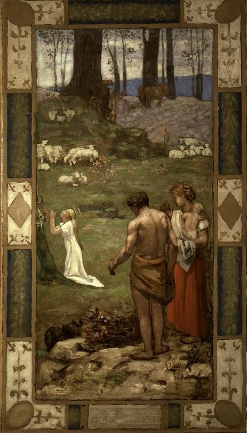 St Genevievve als kind in gebed 1876 | Pierre Puvis de Chavannes | oil painting