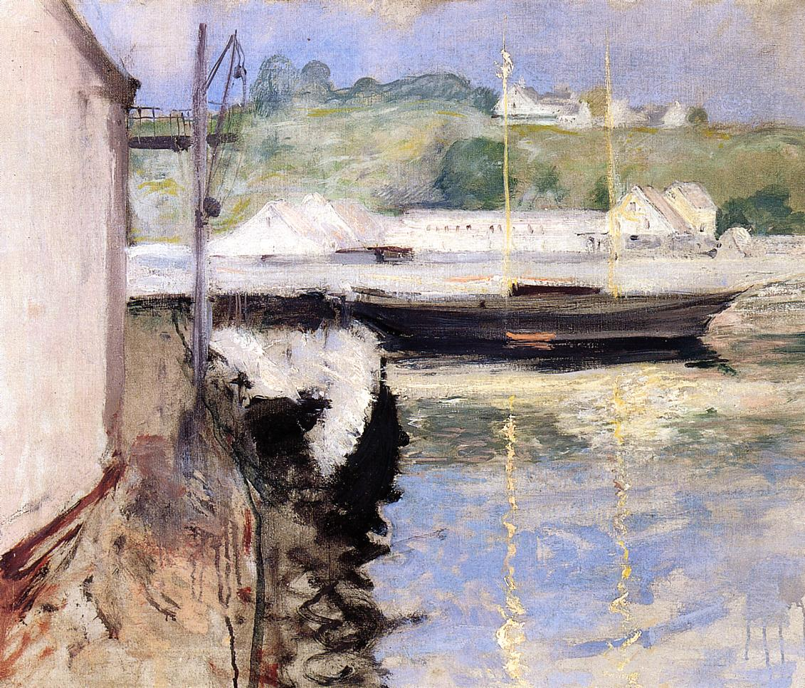 Fish Sheds and Schooner Gloucester  1898 | William Merritt Chase | oil painting