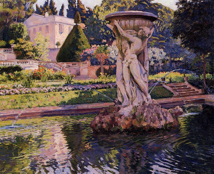 Garden with Villa and Fountain  1924 | William Merritt Chase | oil painting