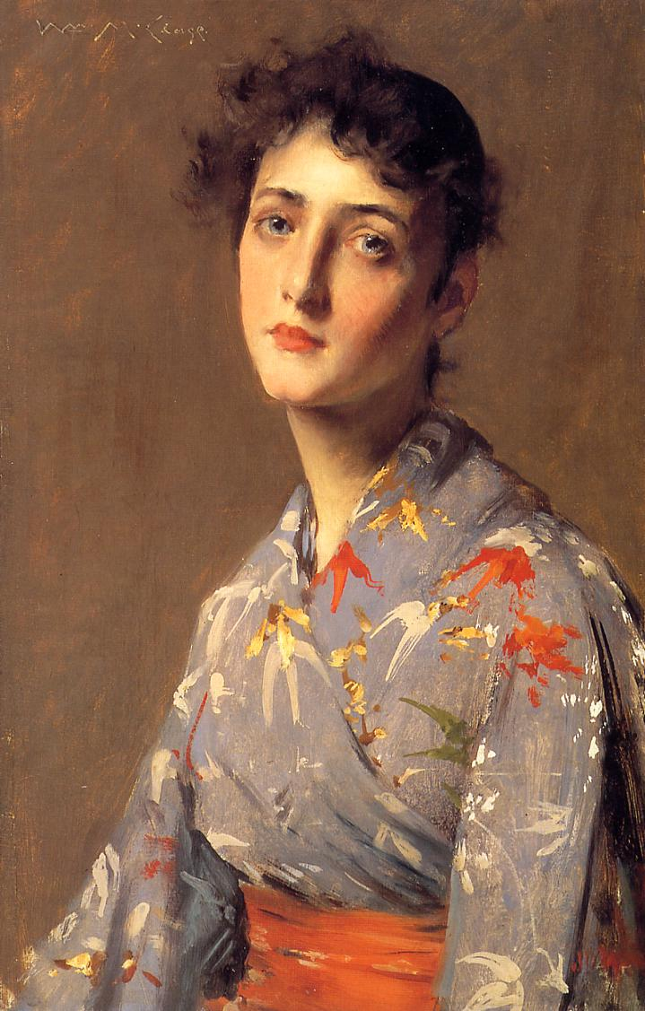 Girl in a Japanese Kimono  1890 | William Merritt Chase | oil painting
