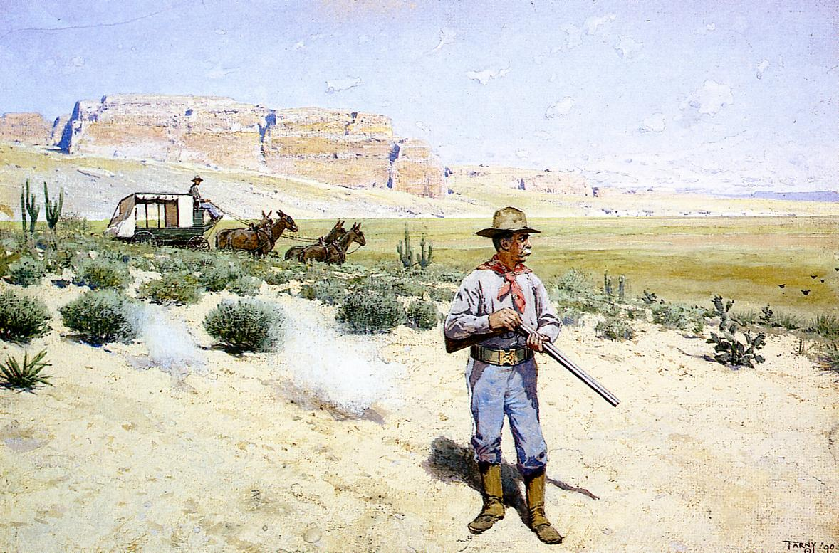 Defending the Stagecoach 1900 | Henry Farny | oil painting