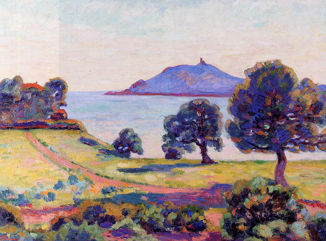 Agay the Chateau and the Signal Tower 1894 | Armand Guillaumin | oil painting